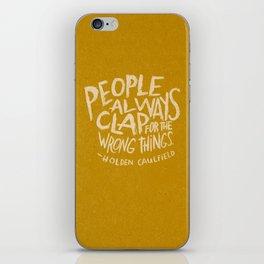 HOLDEN CAULFIELD ON APPLAUSE iPhone Skin