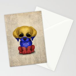 Cute Puppy Dog with flag of Venezuela Stationery Cards
