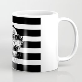 Gorgeous Skull With Flower Crown - Black and White Stripes Coffee Mug