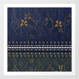 denim floral bronzer  Art Print