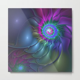 Flourish Abstract Fractal, Colorful Luminous Fantasy Metal Print