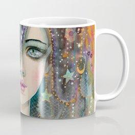 Galaxy Girl Bohemian Woman Celestial Fantasy Art by Molly Harrison Coffee Mug