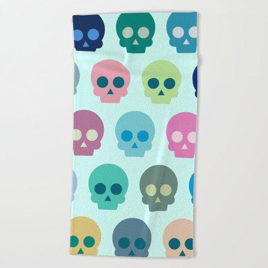 Colorful Skull Cute Pattern Beach Towel