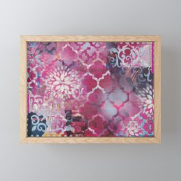 Mixed Media Layered Patterns - Deep Fuchsia Framed Mini Art Print