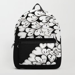 Hearts and Flowers Zentangle black and white illustration Backpack