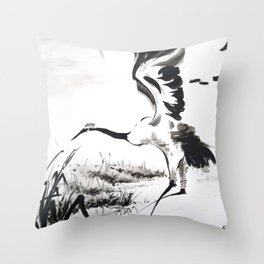 watercolor japan art grue, flying bird chinese ink Throw Pillow