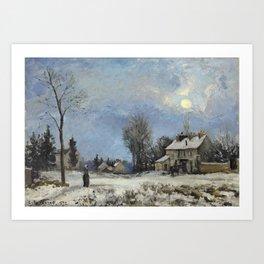 """Camille Pissarro """"Le relais de poste, route de Versailles, Louveciennes, neige"""" Art Print"""