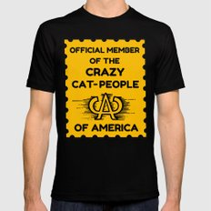 Crazy Cat People of America Mens Fitted Tee MEDIUM Black