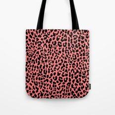 Neon Coral Leopard Tote Bag