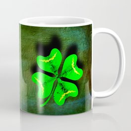 Four Leaf Clover on Green Textured Background Coffee Mug