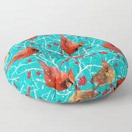 Winter Cardinals Pattern | Wintergreen Floor Pillow