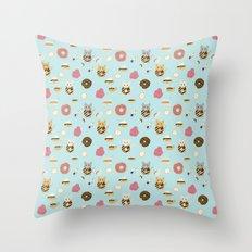 Donut Cat Throw Pillow
