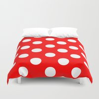 polka Duvet Covers featuring Polka Dots (White/Red) by 10813 Apparel