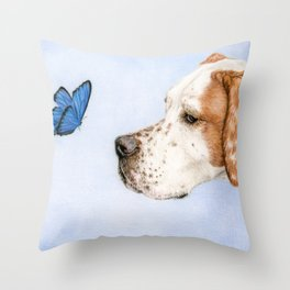 The Dog And The Butterfly Throw Pillow