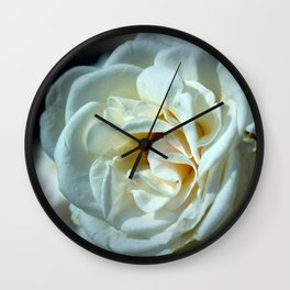Marvelous Majestic Big White Rose Blossom Close Up Ultra HD Wall Clock