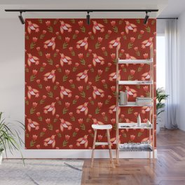 Pretty cute little wild canary birds, red blooming garden tulips, feminine nature flowers dark brown pattern. Hello spring. Gift ideas for tulip lovers. Botanical floral animal artistic design. Wall Mural