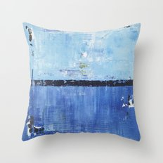 Shiver Abstract Art Blue Modern Water Painting  Throw Pillow