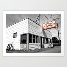 Corner laundromat Art Print