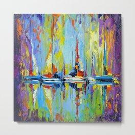 Sailboats at the pier Metal Print