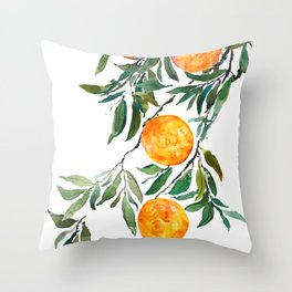 orange watercolor Throw Pillow