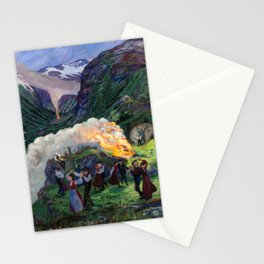 Tyrol Mountains Summer Solstice Eve Alpine Bonfires landscape painting by Nikolai Astrup Stationery Cards