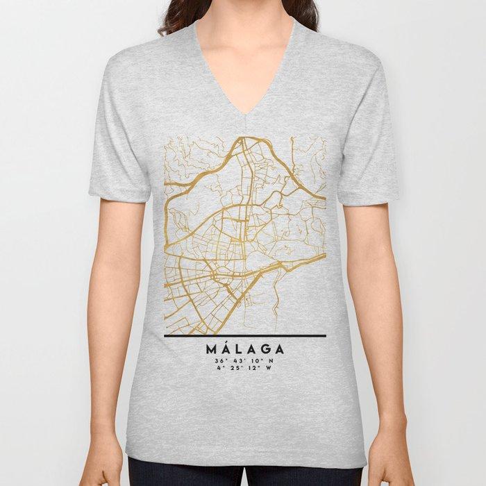 MALAGA SPAIN CITY STREET MAP ART Unisex V-Neck