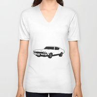 muscle V-neck T-shirts featuring Muscle Car by mothermary
