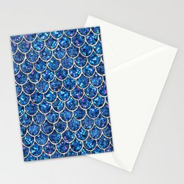 Sparkly Blue & Silver Glitter Mermaid Scales Stationery Cards