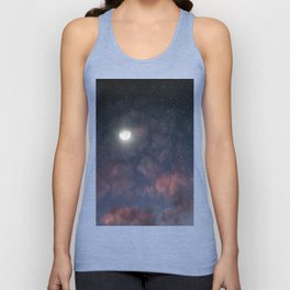 Glowing Moon on the night sky through pink clouds Unisex Tank Top