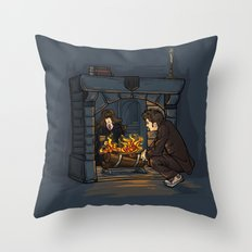 The Witch in the Fireplace Throw Pillow