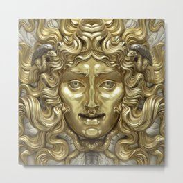 """Ancient Golden and Silver Medusa Myth"" Metal Print"