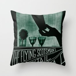 Flying Scotsman Cocktail Bar Travel Poster Throw Pillow