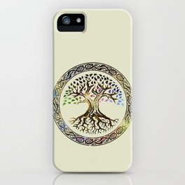 Tree of life  -Yggdrasil - Gold & Green  foil iPhone Case