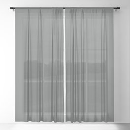 Dark Muted Green Grey Solid Color Inspired by Jolie Paint 2020 Color of the Year Legacy Sheer Curtain