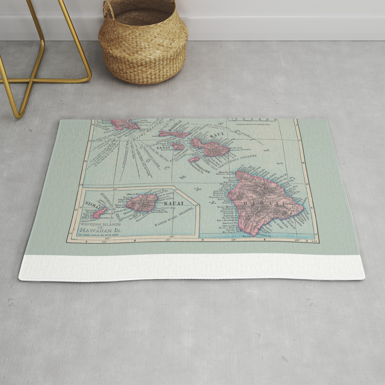 Map Of Hawaii Rug By Colorandform