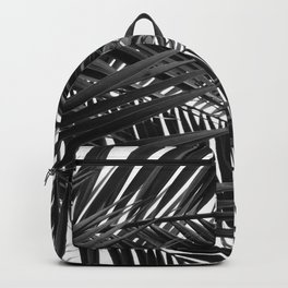 Tropical Palm Leaves - Black and White Nature Photography Backpack