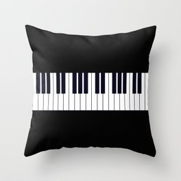 Piano Keys - Black and white simple piano keys pattern minimalistic music themed artwork Throw Pillow