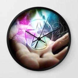 Magickal flaming pentacle Wall Clock