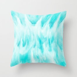 Arctic Aqua Ice Abstract Throw Pillow