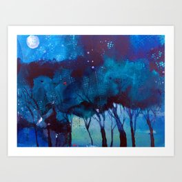 Trees at moonlight Art Print