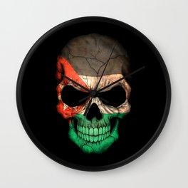 Dark Skull with Flag of Jordan Wall Clock