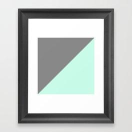Grey and Mint Half Triangle Framed Art Print