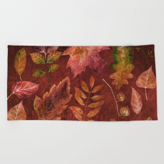 My favorite color is october- Colorful autumnal leaves pattern Beach Towel