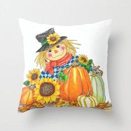 Sunflower Scarecrow Throw Pillow