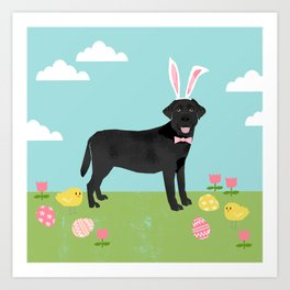 Black Lab labrador retriever dog breed pet art easter portrait costume spring Art Print