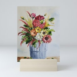 Country Fall Flowers in Silver Fruit Basket Mini Art Print