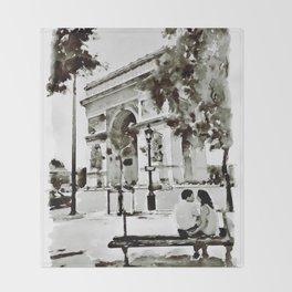 The Arc de Triomphe Paris Black and White Throw Blanket