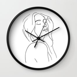 Woman in Reverie Line Drawing Wall Clock
