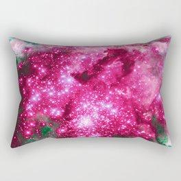 GALAXY Hot Pink & Green Sparkle Stars Rectangular Pillow