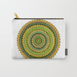 Lucky Shamrock Green and Gold Mandala Colored Pencil Illustration by Imaginarium Creative Studios Carry-All Pouch